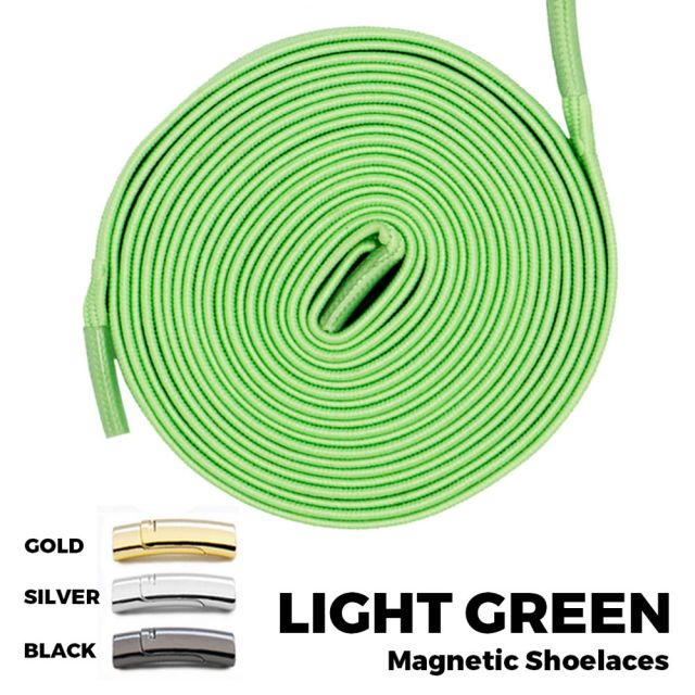 Light Green Magnetic Shoelace Lock Flat Elastic No Tie Laces