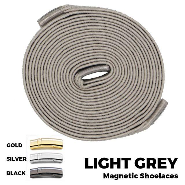 Light Grey Magnetic Shoelace Lock Flat Elastic No-Tie Laces