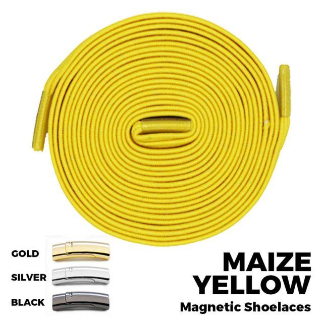 Maize Yellow Magnetic Shoelace Lock Flat Elastic No-Tie Laces