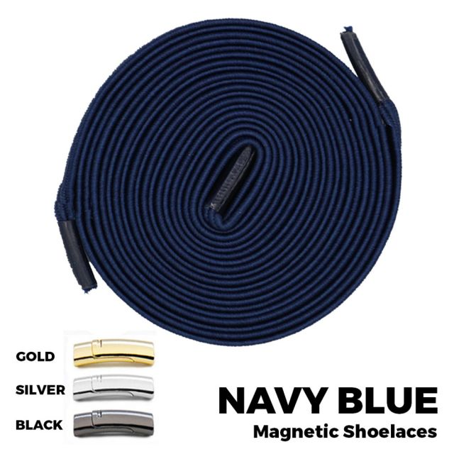Navy Blue Magnetic Shoelace Lock Flat Elastic No Tie Laces