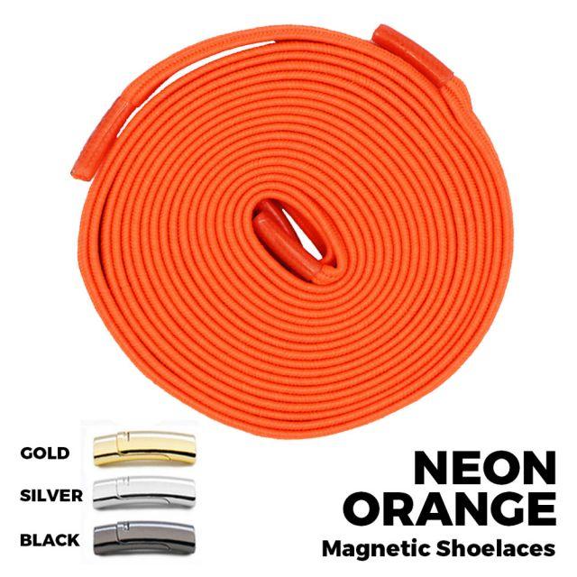 Neon Orange Magnetic Shoelace Lock Flat Elastic No Tie Laces