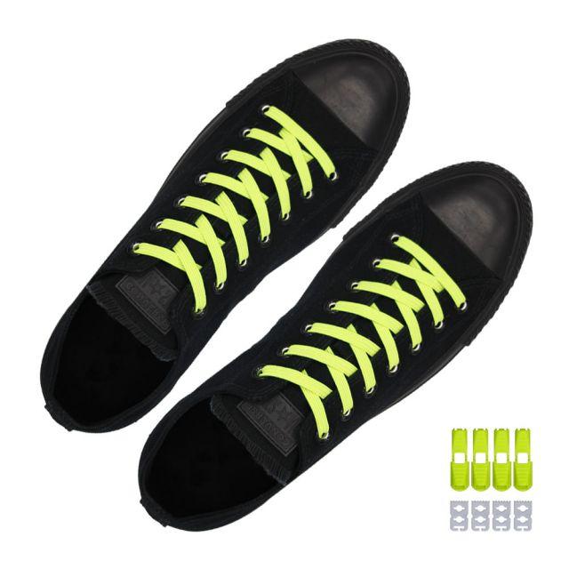 Coolnice Flat Elastic No Tie Shoelaces - Neon Yellow