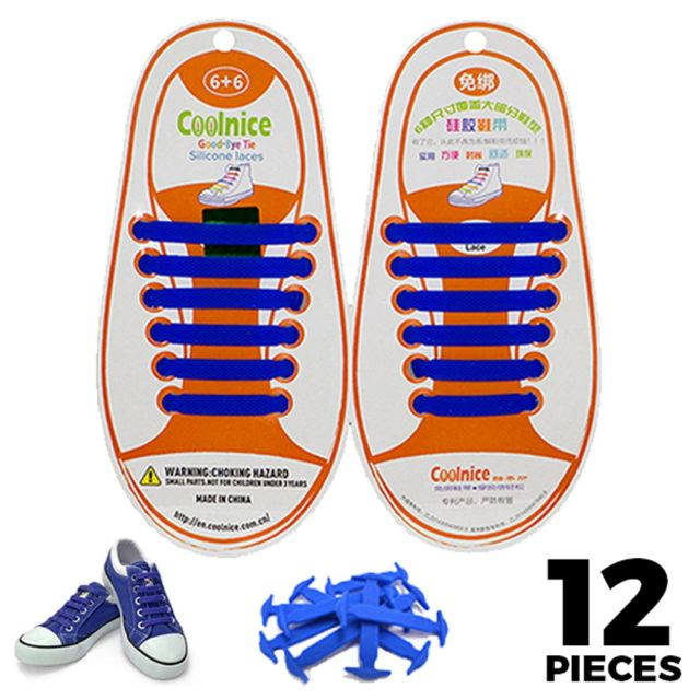 No Tie Shoelaces Silicone - Blue 12 Pieces for Kids