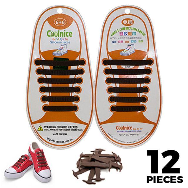 No Tie Shoelaces Silicone - Brown 12 Pieces for Kids