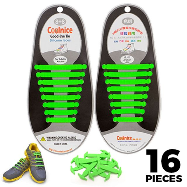 No Tie Shoelaces Silicone - Green 16 Pieces for Adults - Main