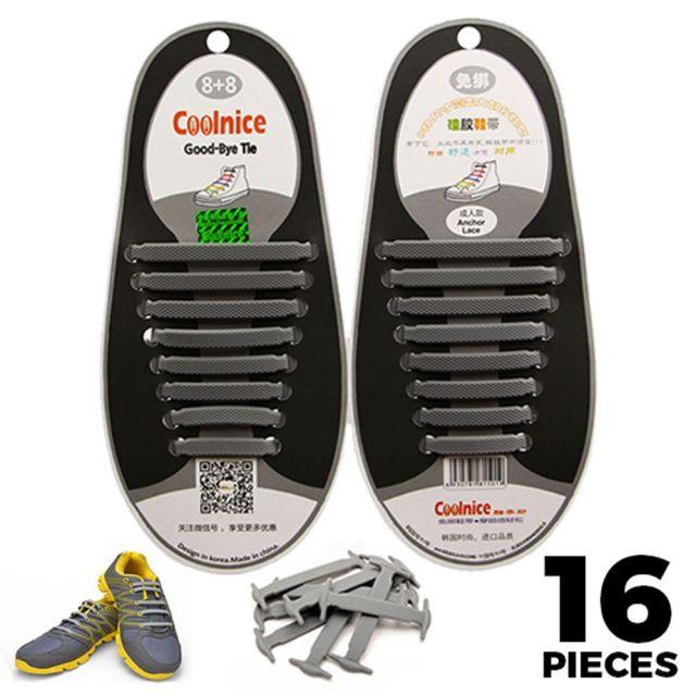 No Tie Shoelaces Silicone Grey 16 Pieces - Main