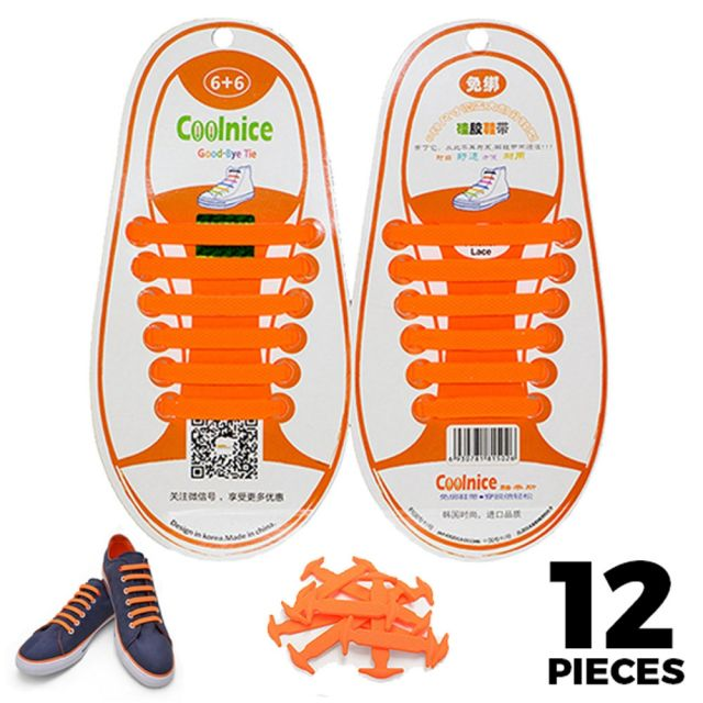 No Tie Shoelaces Silicone - Orange 12 Pieces for Kids