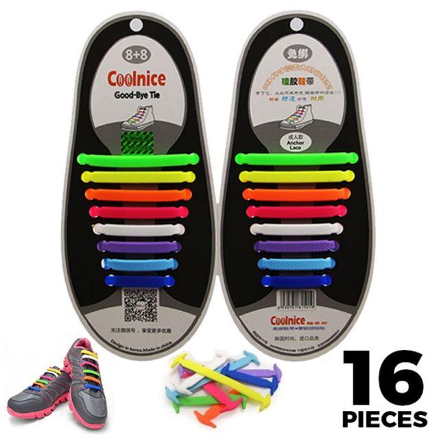 No Tie Shoelaces Silicone Multi Colour 16 Pieces - Main