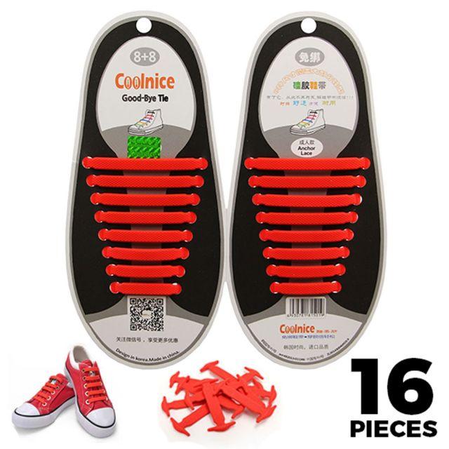 No Tie Shoelaces Silicone Red 16 Pieces