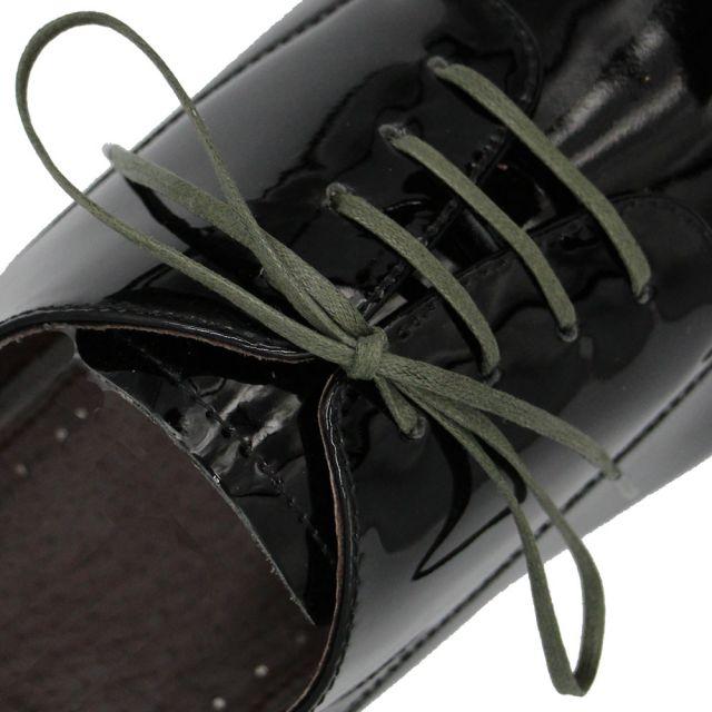 Length: 60cm | Width: 3mm | Flat Olive Green Wax Shoelace