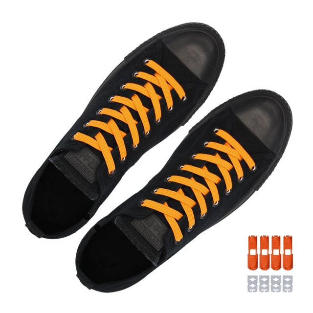 Coolnice Flat Elastic No Tie Shoelaces - Orange
