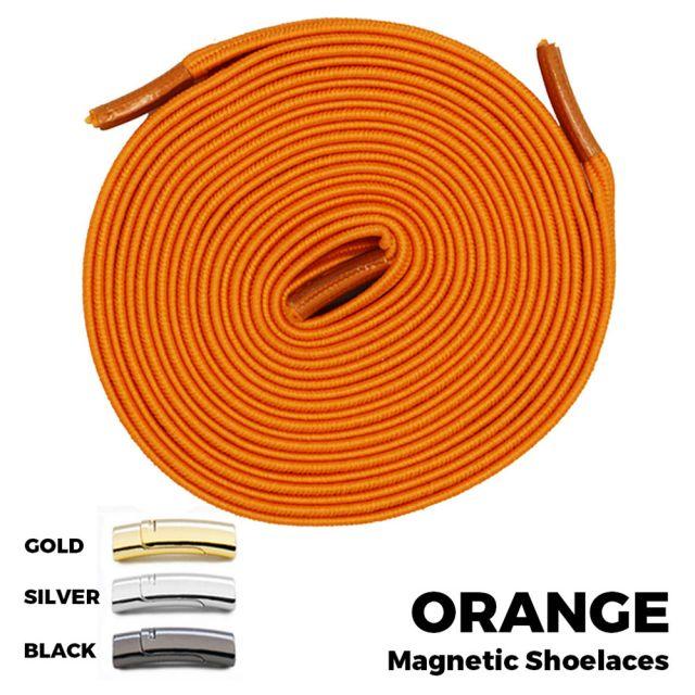 Orange Magnetic Shoelace Lock Flat Elastic No Tie Laces