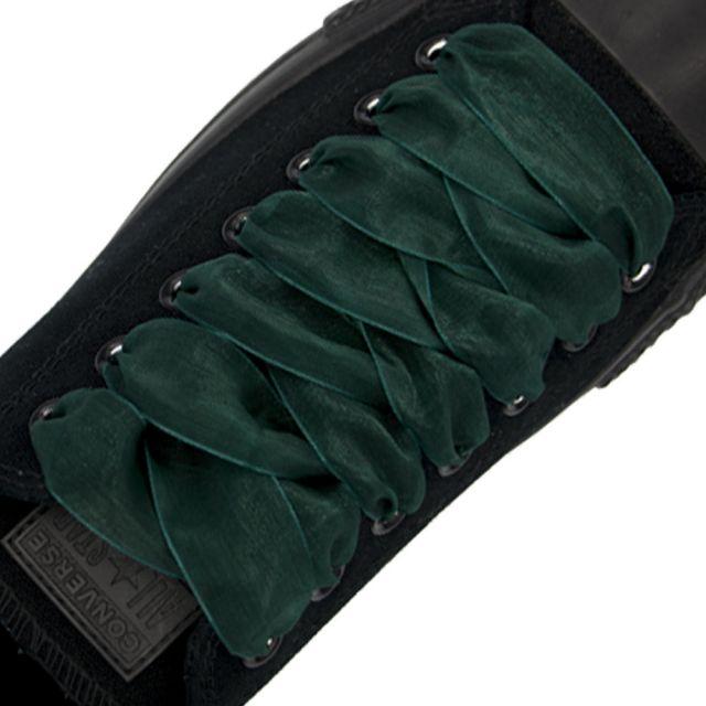 Organza Shoelaces - Dark Green 120cm Length 2.5cm Width Flat