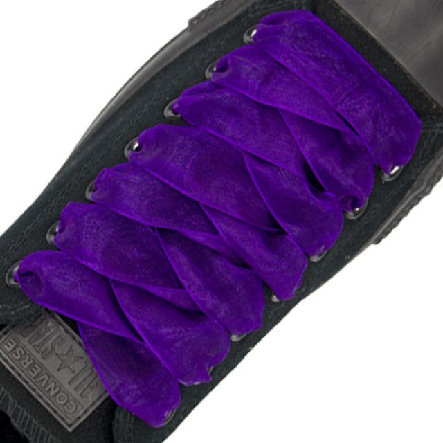 Organza Shoelaces - Dark Purple 120 Length 2.5cm Width Flat