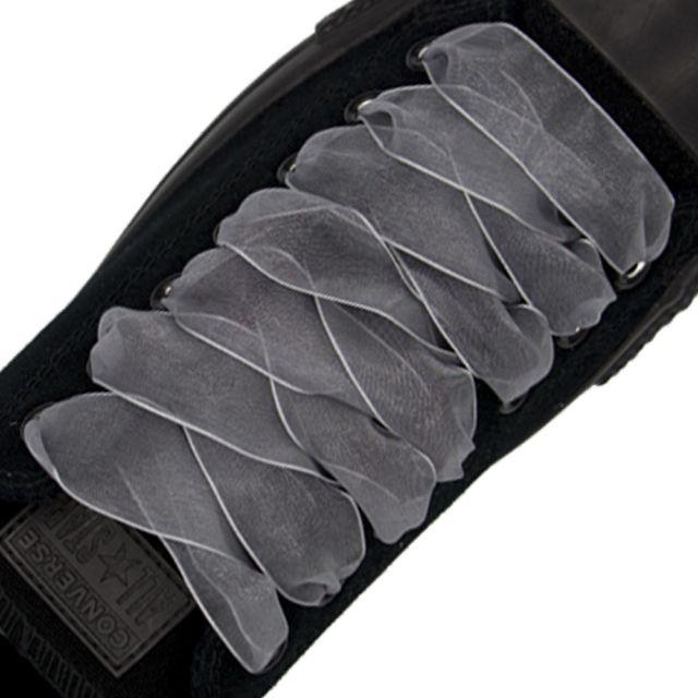 Organza Shoelaces - Grey 120cm Length 2.5cm Width Flat