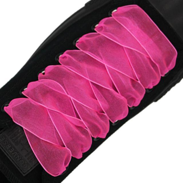 Organza Shoelaces - Hot Pink 120cm Length 2.5cm Width Flat
