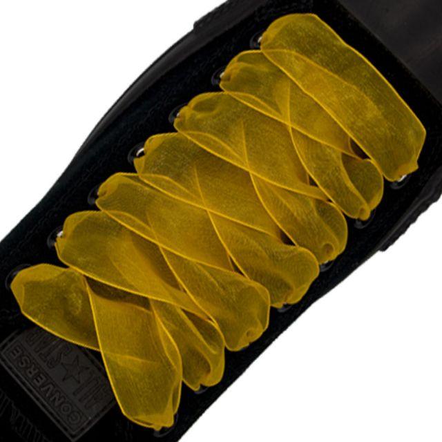 Organza Shoelaces - Orange 120cm Length 2.5cm Width Flat