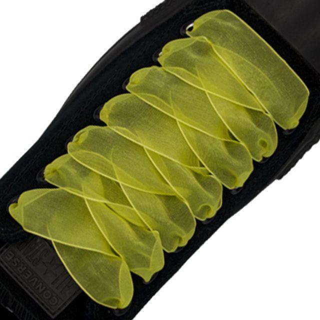 Organza Shoelaces - Yellow 120cm Length 2.5cm Width Flat
