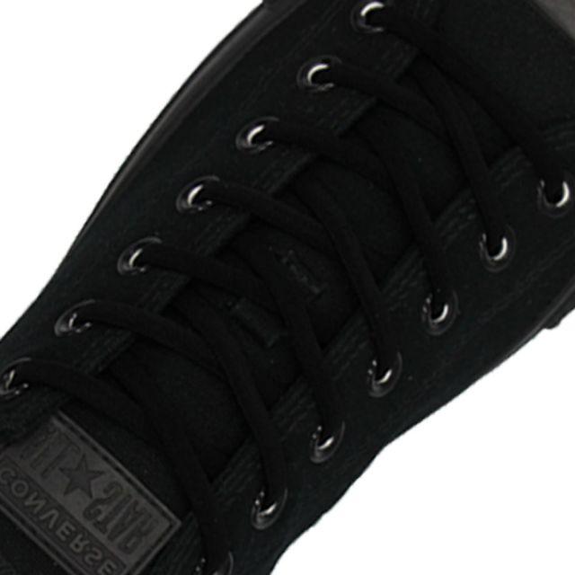 Oval Elastic No Tie Shoelaces - Black