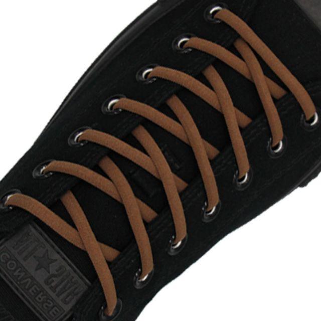 Oval Elastic No Tie Shoelaces - Brown