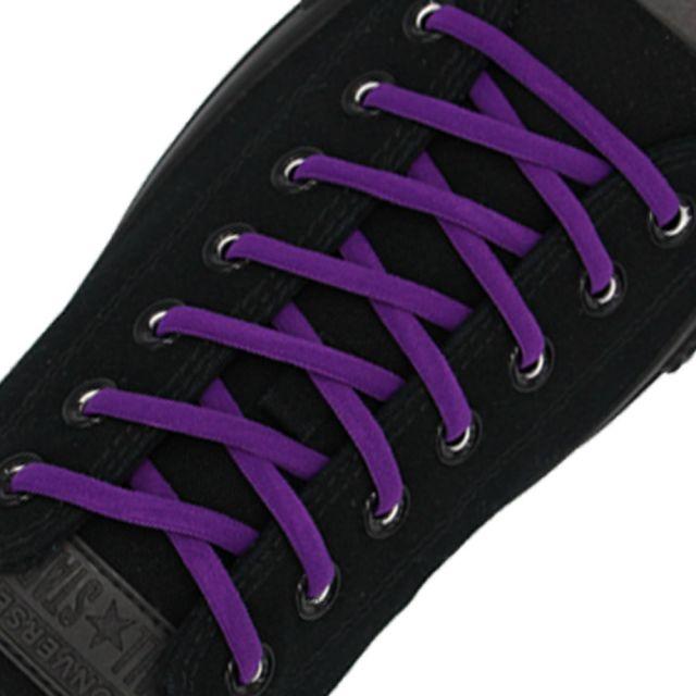 Oval Elastic No Tie Shoelaces - Purple