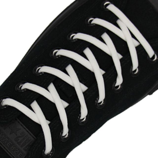 Oval Elastic No Tie Shoelaces - White