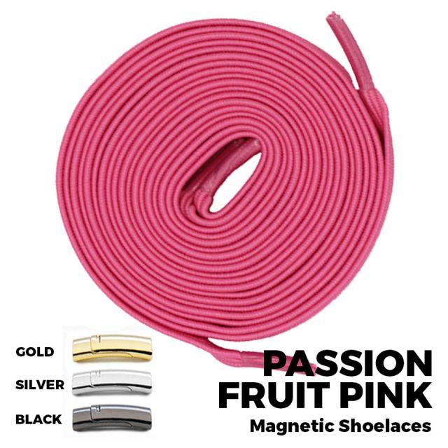 Passion Fruit Pink Magnetic Shoelace Lock Flat Elastic No Tie Laces