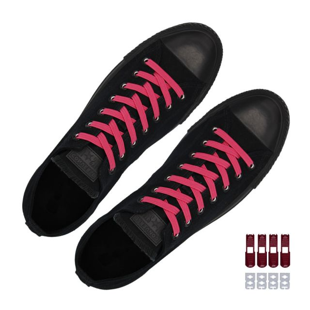 Coolnice Flat Elastic No Tie Shoelaces - Pink