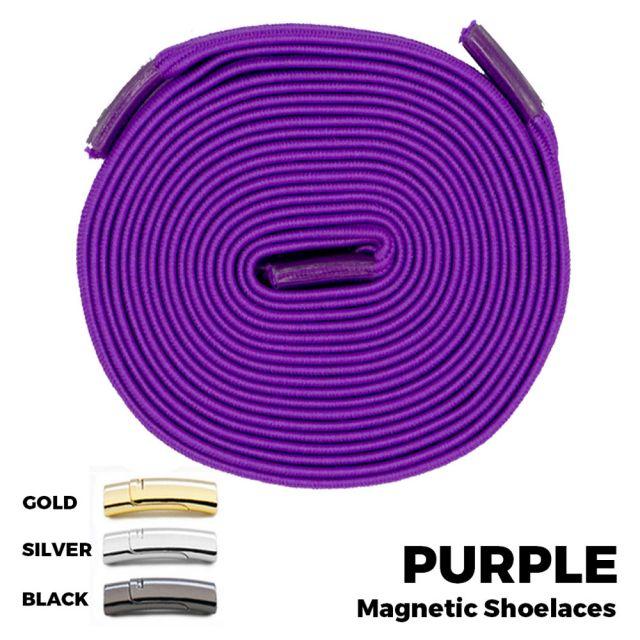 Purple Magnetic Shoelace Lock Flat Elastic No Tie Laces