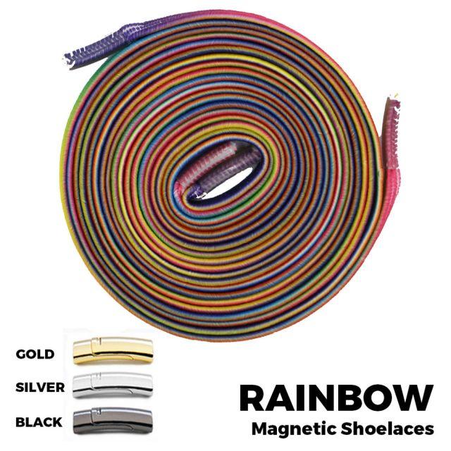 Rainbow Magnetic Shoelace Lock Flat Elastic No Tie Laces
