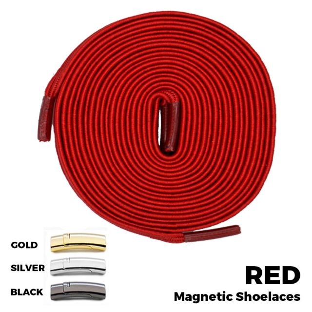 Red Magnetic Shoelace Lock Flat Elastic No-Tie Laces