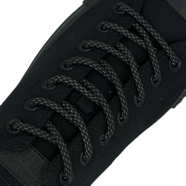 Reflective Shoelaces Round Black 100 cm - Ø5mm Dash