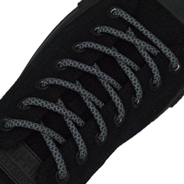 Reflective Shoelaces Round Dark Grey 100 cm - Ø5mm Cross