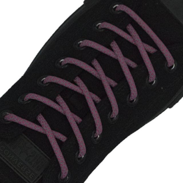 Reflective Shoelaces Round Dark Pink 100 cm - Ø5mm Cross
