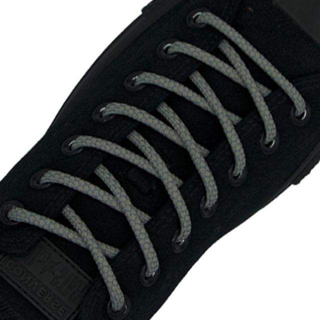 Reflective Shoelaces Round Grey 100 cm - Ø5mm Cross