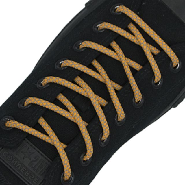 Reflective Shoelaces Round Orange 100 cm - Ø5mm Cross