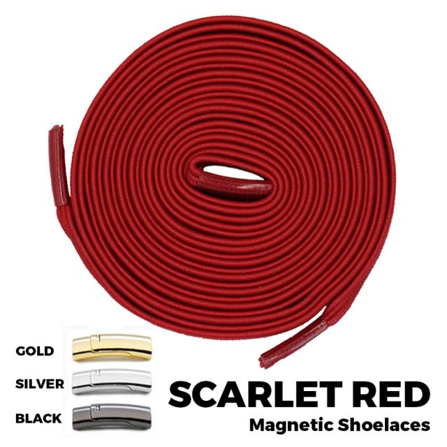 Scarlet Red Magnetic Shoelace Lock Flat Elastic No Tie Laces