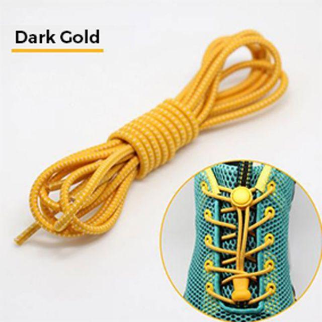 Smart Lock Elastic Shoelaces Dark Gold White Stripes
