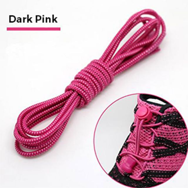 Smart Lock Elastic Shoelaces Dark Pink White Stripes