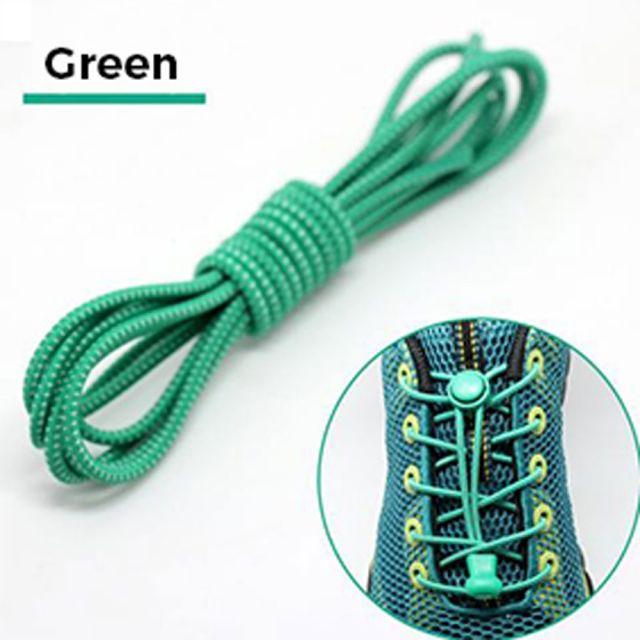 Smart Lock Elastic Shoelaces Green White Stripes