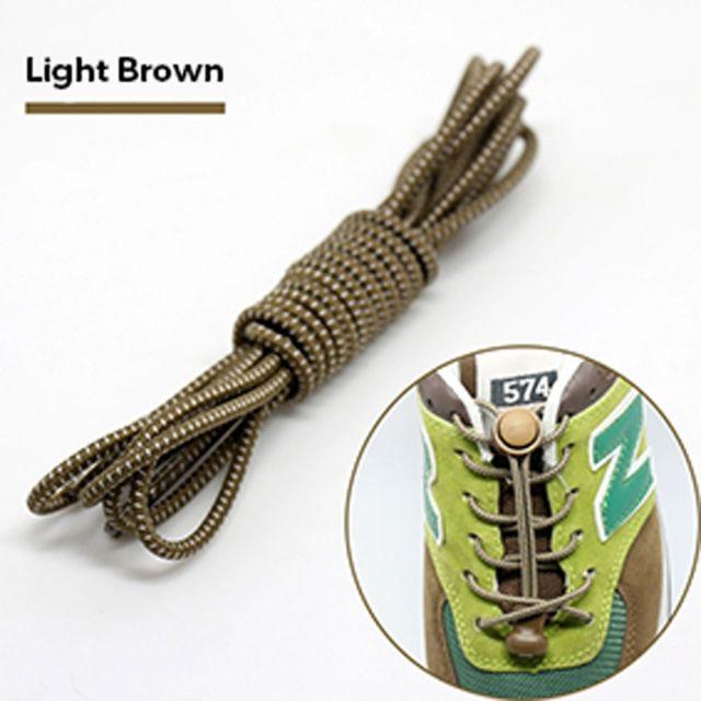 Smart Lock Elastic Shoelaces Light Brown White Stripes