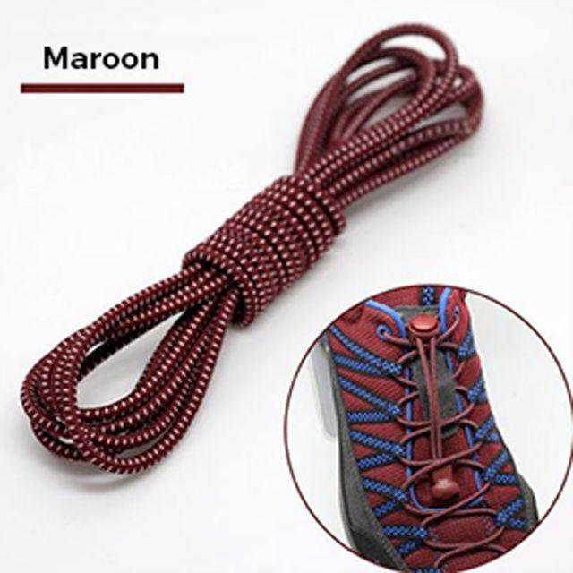 Smart Lock Elastic Shoelaces Maroon White Stripes