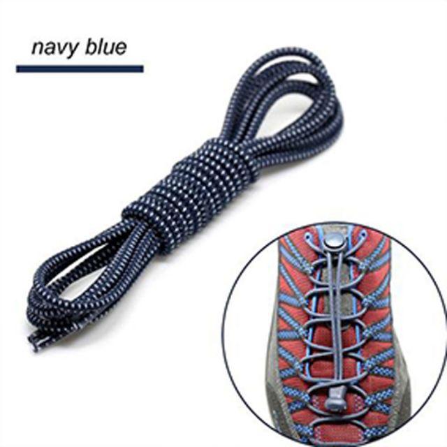 Smart Lock Elastic Shoelaces Navy Blue White Stripes