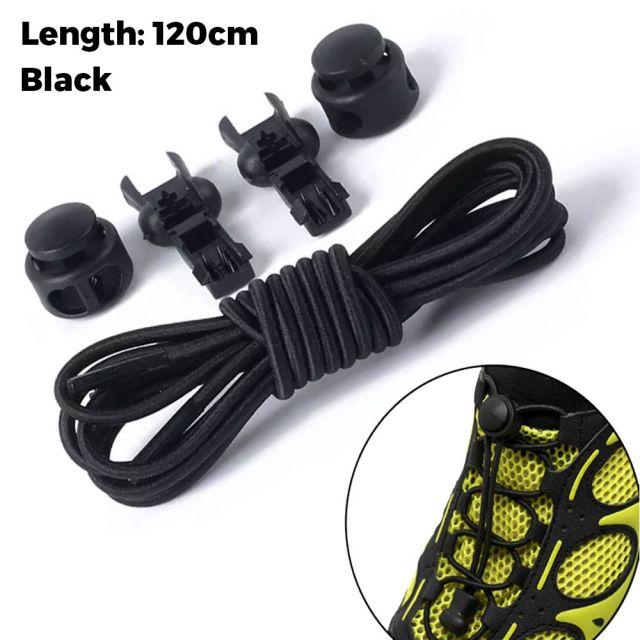 Smart Lock Elastic Shoelaces Black 120cm - Platinum