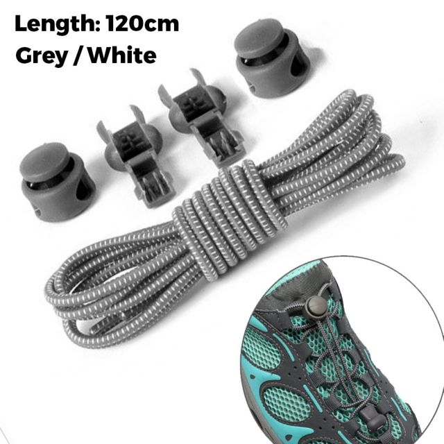 Smart Lock Elastic Shoelaces Grey White 120cm - Platinum
