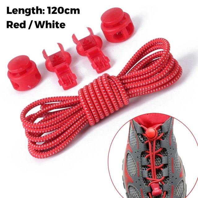 Smart Lock Elastic Shoelaces Red White 120cm - Platinum