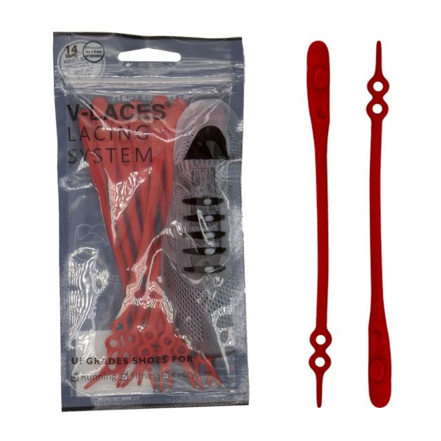 Kids & Adults V Laces No Tie Shoelace - Red 14 Pieces