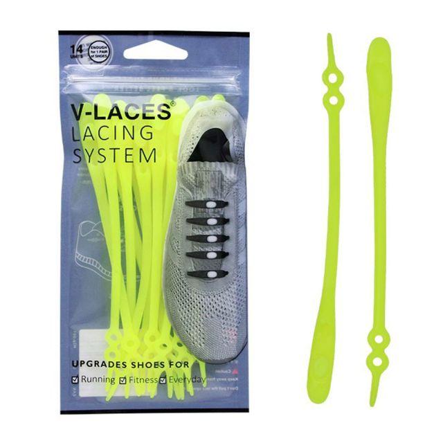 Kids & Adults V Laces No Tie Shoelace - Yellow 14 Pieces