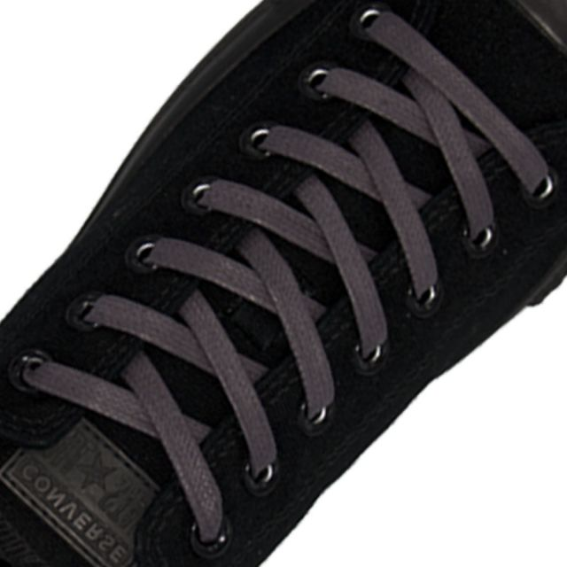Length: 60cm | Width: 7mm | Flat Dark Grey Wax Shoelace