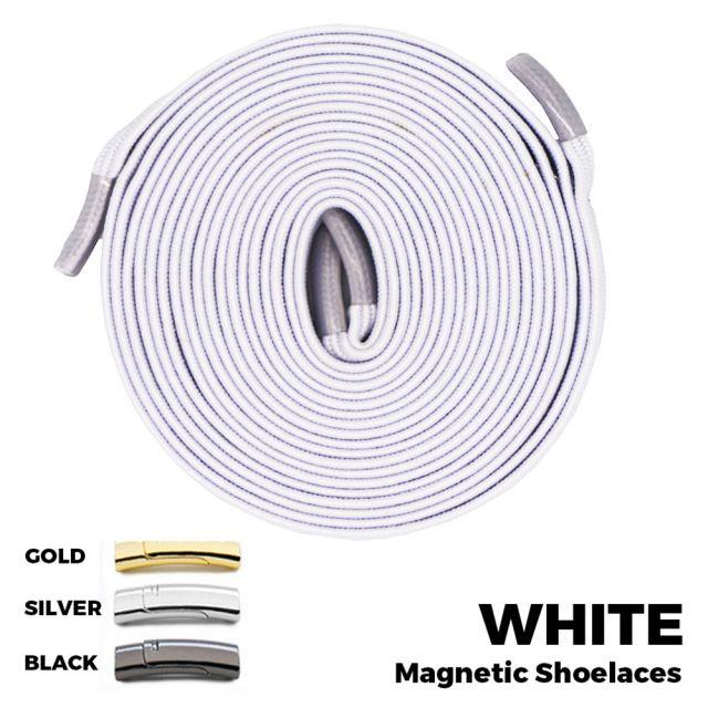 White Magnetic Shoelace Lock Flat Elastic No Tie Laces